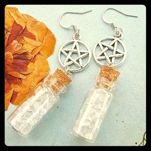 Pentacle & Quartz crystal corked bottle earrings